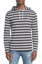 Lacoste Men's Stripe Long Sleeve Hooded T Shirt Black White