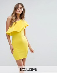 Club L One Shoulder Ruffle Structure Detail Dress Yellow