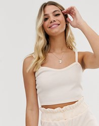 Glamorous Cami Top In Fine Knit Co Cream