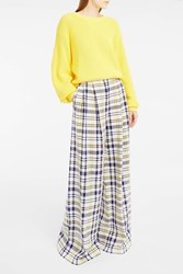 Adam By Adam Lippes Women S Plaid Wide Leg Trousers Boutique1 Yellow