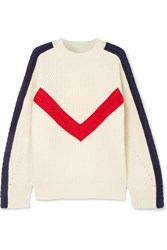 Sjyp Cable Knit Ribbed Wool Sweater Cream