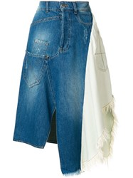 Each X Other Asymmetric Panelled Denim Skirt Blue