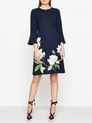 Hobbs Magnolia Print Long Sleeve Dress Navy