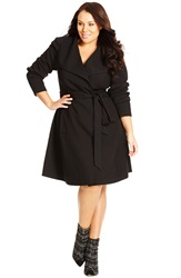 City Chic 'So Chic' Trench Coat Plus Size Black