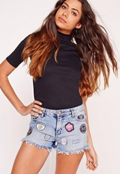 Missguided Low Rise Badge Ripped Denim Shorts Vintage Blue