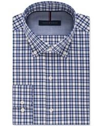 Tommy Hilfiger Men's Slim Fit Non Iron Multi Check Dress Shirt Empire Blue