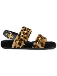 Car Shoe Leo Fur Sandals Sheep Skin Shearling Rubber Brown