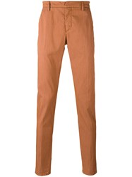 Dondup Slim Fit Trousers Men Cotton Polyester Spandex Elastane 35 Yellow Orange