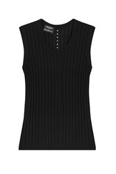 Anthony Vaccarello Cotton Linen Silk Ribbed Tank Black