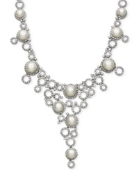 Belle De Mer Cultured Freshwater Pearl 9Mm And Cubic Zirconia Frontal Necklace In Silver Plated Brass