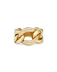 18K Gold Curb Chain Link Diamond Ring Bessa