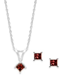 Macy's 10K White Gold Red Diamond Necklace And Earring Set 1 4 Ct. T.W.