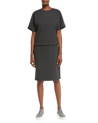 Lafayette 148 New York Short Sleeve Punto Milano Bloussant Dress Smoke