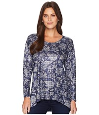 Nally And Millie Blue Floral Print Tunic Multi Blouse