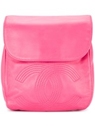 Chanel Vintage Line Cc Stitch Backpack Pink And Purple