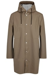 Stutterheim Goteborg Taupe Rubberised Raincoat Stone
