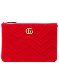 Gucci Gg Marmont Velvet Clutch Red