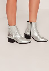 Missguided Silver Star Studded Ankle Boots
