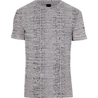 River Island Grey Chunky Rib Muscle Fit Crew Neck T Shirt