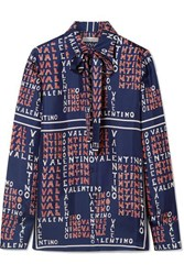 Valentino Pussy Bow Printed Silk Twill Shirt Navy