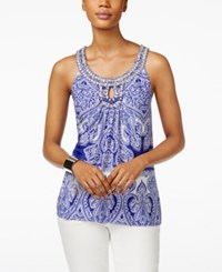 Inc International Concepts Printed Keyhole Halter Top Only At Macy's Blue Mini Ace Paisley