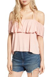 Lush Women's Ruffle Cold Shoulder Top