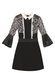 Self Portrait Lace Panel Bell Sleeved Dress Black White