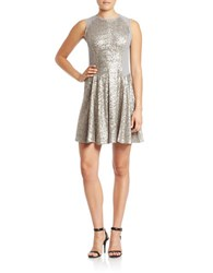 Rachel Roy Sleeveless Sequined Fit And Flare Dress Silver