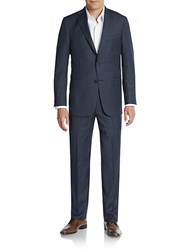 Hickey Freeman Regular Fit Striped Worsted Wool Suit Navy