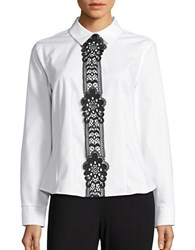 Tommy Hilfiger Lace Trimmed Button Front Shirt White