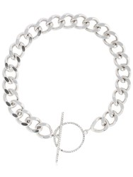 Isabel Marant Chain Necklace W Crystal Toggle Silver