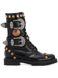 Fausto Puglisi Studded Buckled Mid Calf Boots Women Leather Rubber 38 Black