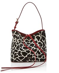 Frances Valentine Small June Calf Hair Tote Giraffe Black White