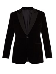 Kilgour Single Breasted Velvet Blazer Black