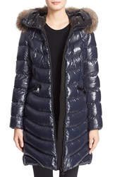 Moncler Women's Monlcer 'Aphia' Shiny Nylon Down Puffer Coat With Genuine Fox Fur Trim