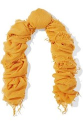 Chan Luu Frayed Cashmere And Silk Blend Scarf Marigold