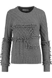 Derek Lam 10 Crosby By Fringed Cable Knit Sweater Gray