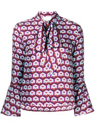 La Doublej Geometric Print Pussy Bow Blouse Pink And Purple