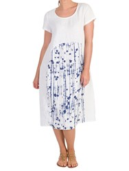 Chesca Dotty Panel Linen Dress White Royal