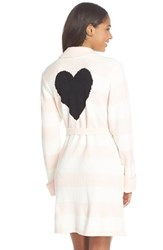 Women's Betsey Johnson Heart Back Sweater Robe Stripe Pristine Veiled Rose