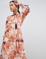 Traffic People Long Sleeve Floral Maxi Dress Pink