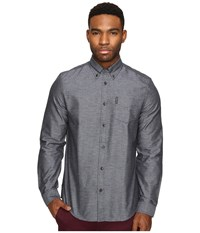 Ben Sherman Long Sleeve Herringbone Donegal Woven Shirt Navy Blazer Men's Long Sleeve Button Up