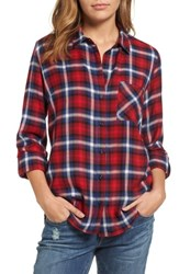 Kut From The Kloth Women's Fuji Plaid Paisley Back Shirt Red Blue