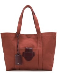 Tila March Leather Trim Tote Red