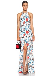 Thakoon Long Open Sided Silk Blend Gown In White Floral Blue