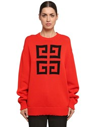 Givenchy Logo Intarsia Cotton Knit Sweater Red
