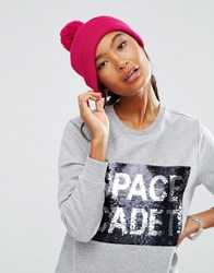 Asos Short Turn Up Beanie With Pom In Fushia Pink Pink