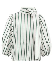 Red Valentino Redvalentino Pussy Bow Striped Cotton Blend Blouse Green White