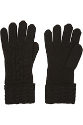 N.Peal Cashmere Cable Knit Cashmere Gloves Black