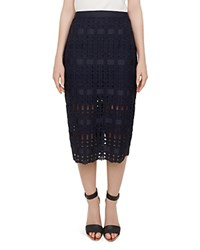 Ted Baker Aava Lace Pencil Skirt Navy